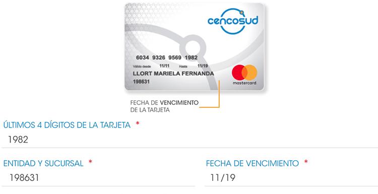 registro de tarjeta cencosud